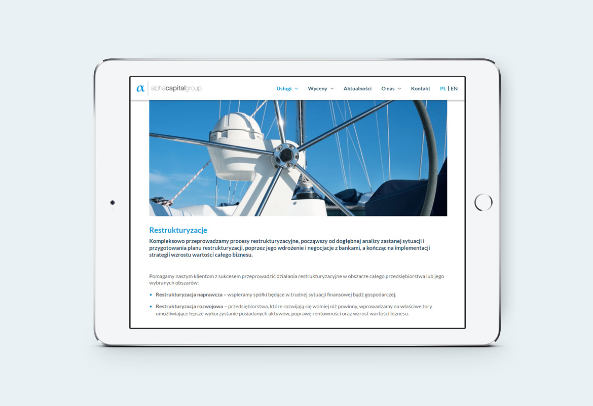 Alpha Capital Group_Responsywna strona internetowa_tablet by Dawid Koniuszewski Design
