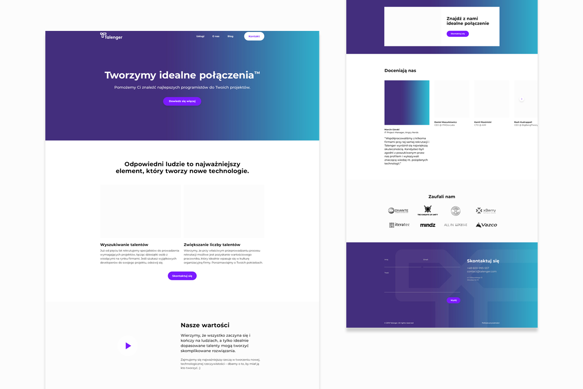 Talenger website UX by Dawid Koniuszewski Design