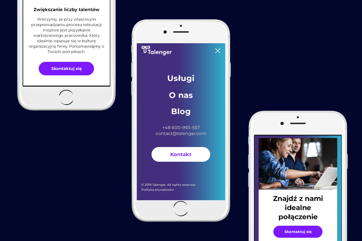 Talenger website on mobile by Dawid Koniuszewski Design