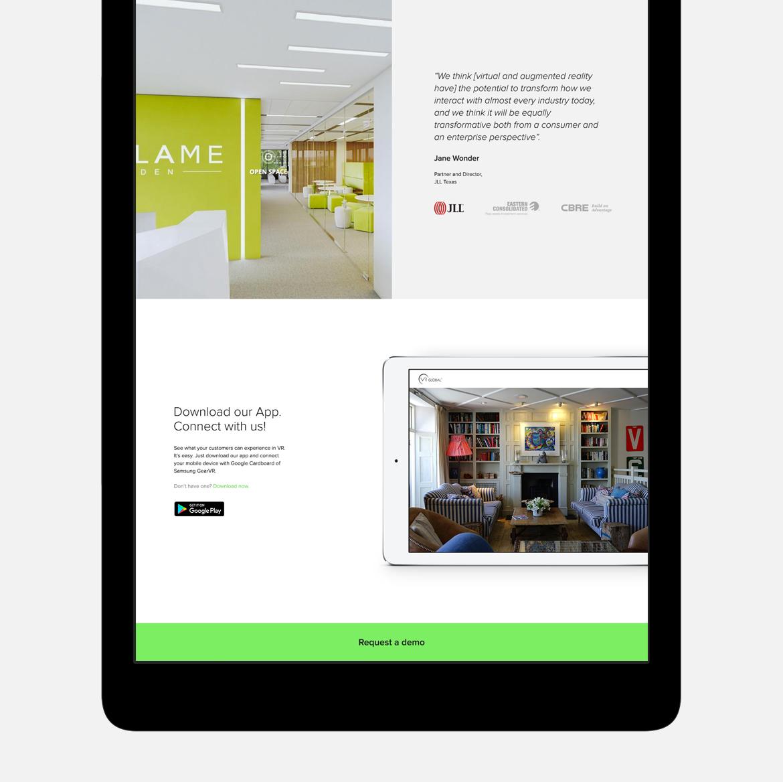 VR Global website on tablet by Dawid Koniuszewski Design